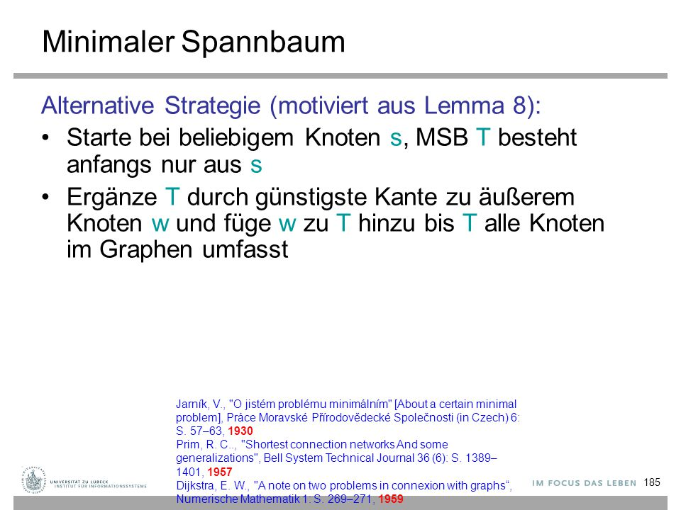 Minimaler Spannbaum Alternative Strategie (motiviert aus Lemma 8):
