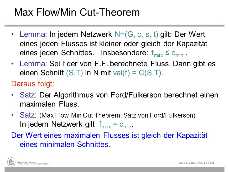 Max Flow/Min Cut-Theorem