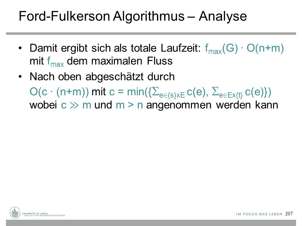 Ford-Fulkerson Algorithmus – Analyse