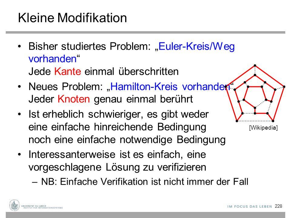 """Kleine Modifikation Bisher studiertes Problem: """"Euler-Kreis/Weg vorhanden Jede Kante einmal überschritten."""