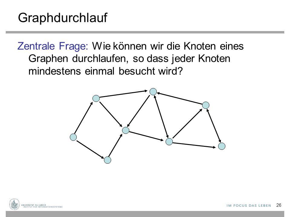 Graphdurchlauf Zentrale Frage: Wie können wir die Knoten eines Graphen durchlaufen, so dass jeder Knoten mindestens einmal besucht wird