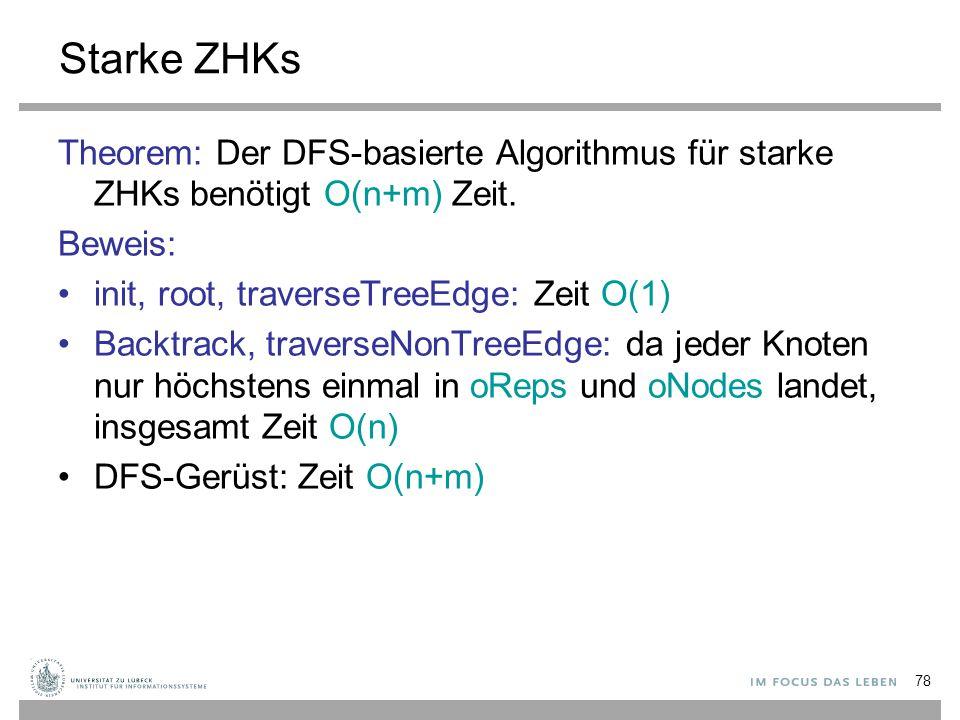 Starke ZHKs Theorem: Der DFS-basierte Algorithmus für starke ZHKs benötigt O(n+m) Zeit. Beweis: init, root, traverseTreeEdge: Zeit O(1)