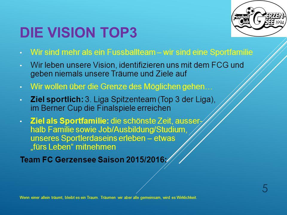 Die Vision Top3 Wir sind mehr als ein Fussballteam – wir sind eine Sportfamilie.