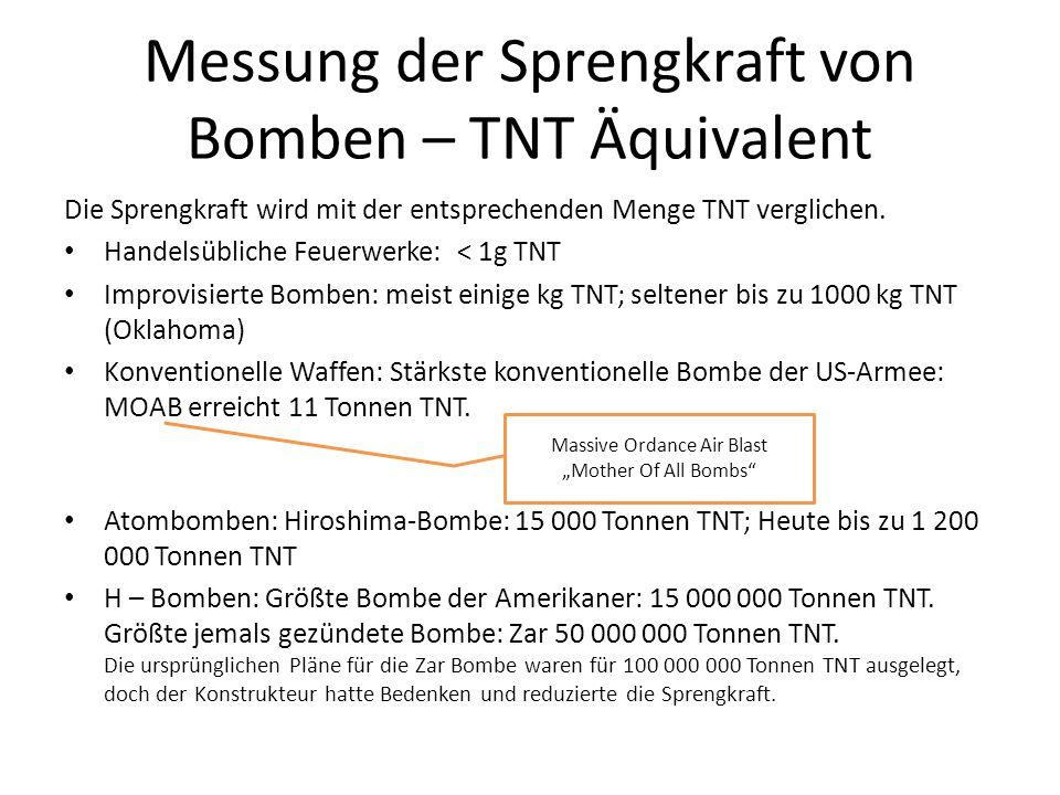 Messung der Sprengkraft von Bomben – TNT Äquivalent