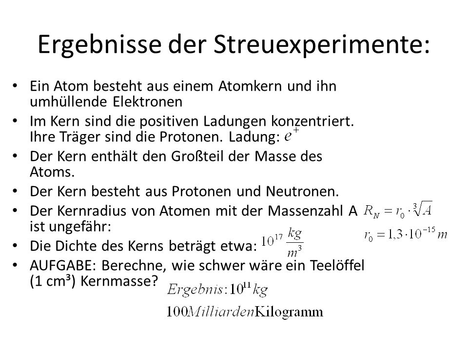 Ergebnisse der Streuexperimente: