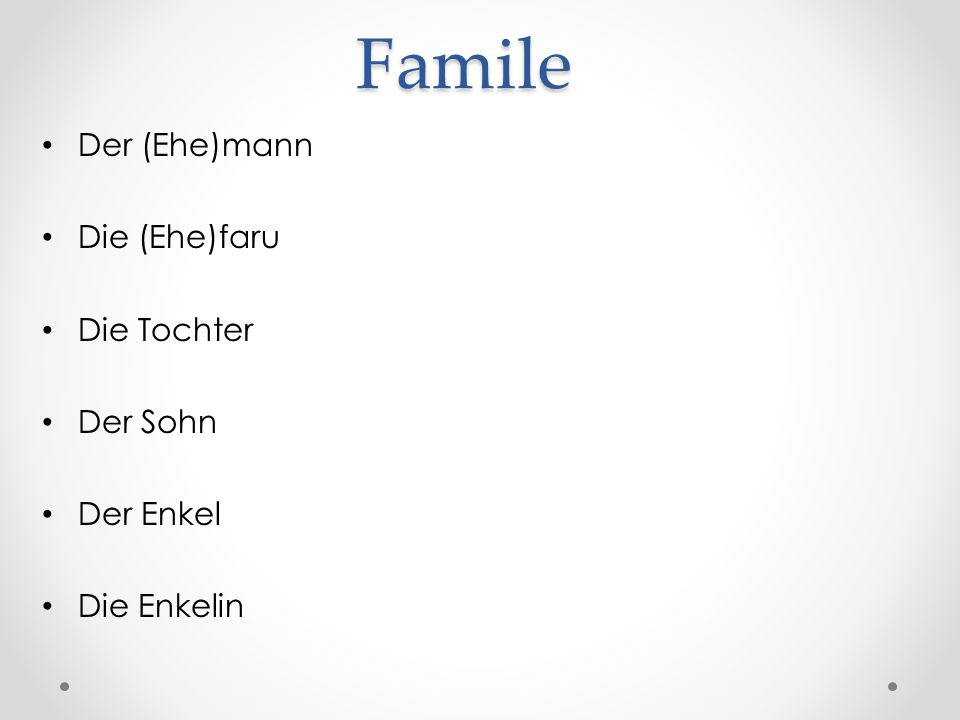 Famile Der (Ehe)mann Die (Ehe)faru Die Tochter Der Sohn Der Enkel