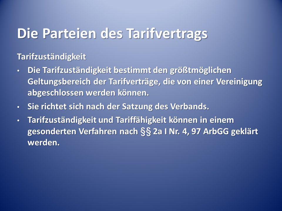 Die Parteien des Tarifvertrags