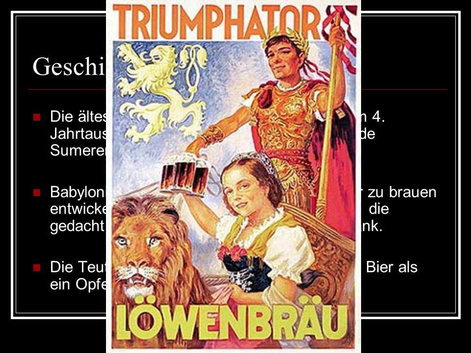 Geschichte: Die ältesten Bierherstellung datieren aus dem 4. Jahrtausend vor Christi Geburt aus dem Lande Sumerer.