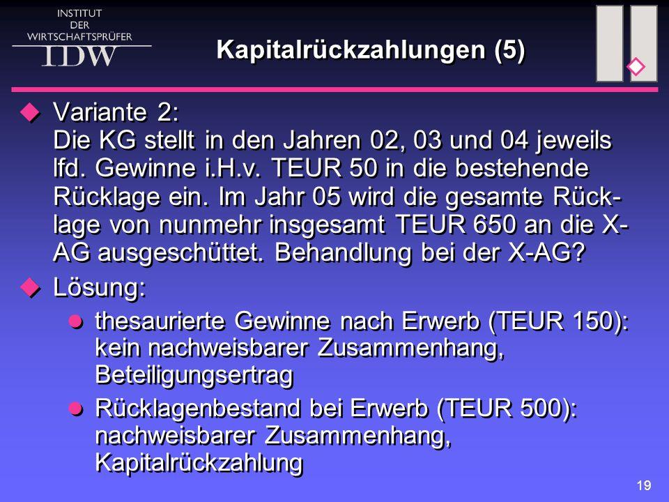 Kapitalrückzahlungen (5)