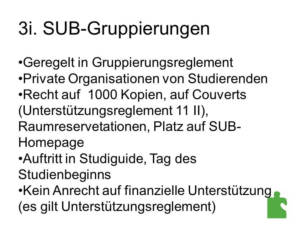 3i. SUB-Gruppierungen Geregelt in Gruppierungsreglement