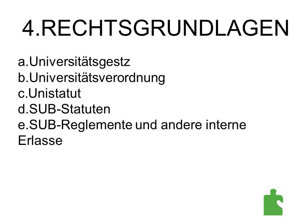 4.RECHTSGRUNDLAGEN Universitätsgestz Universitätsverordnung Unistatut