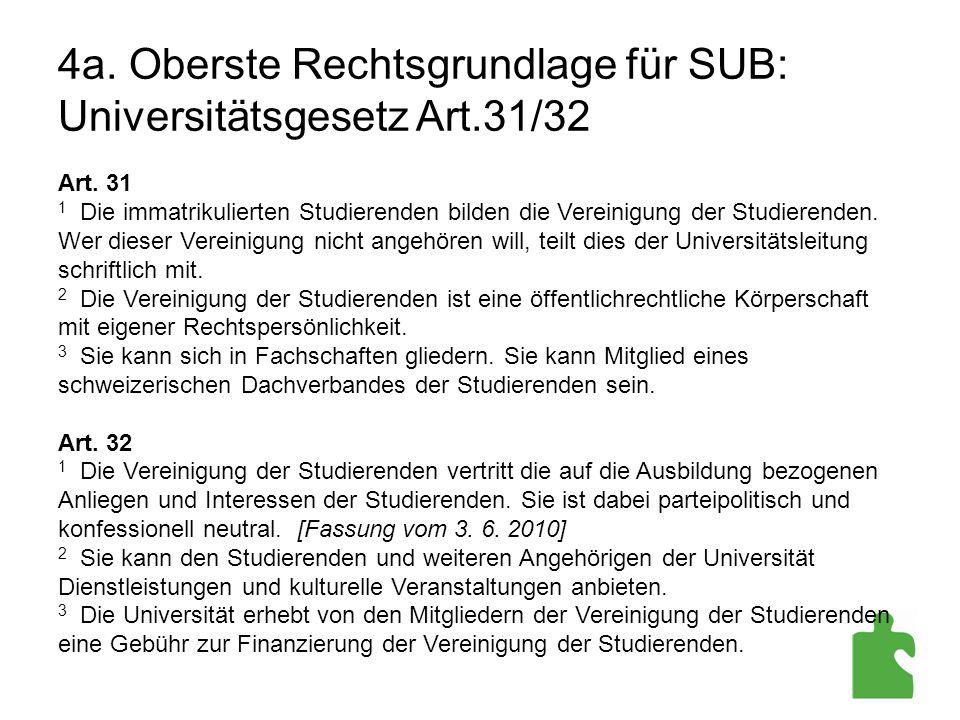 4a. Oberste Rechtsgrundlage für SUB: Universitätsgesetz Art.31/32