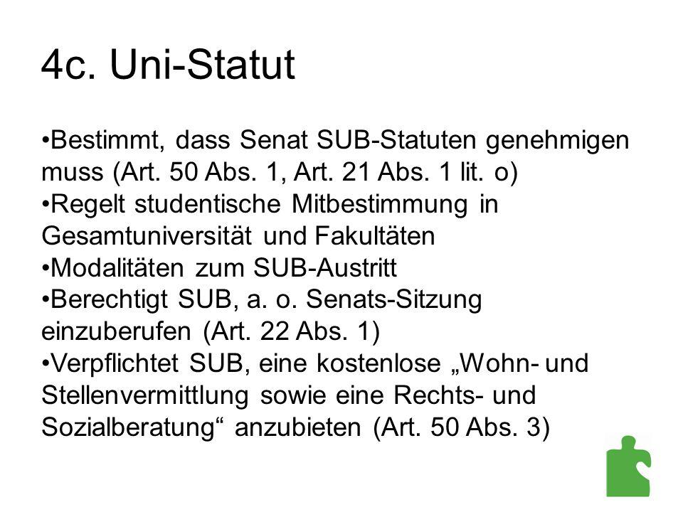 4c. Uni-Statut Bestimmt, dass Senat SUB-Statuten genehmigen muss (Art. 50 Abs. 1, Art. 21 Abs. 1 lit. o)