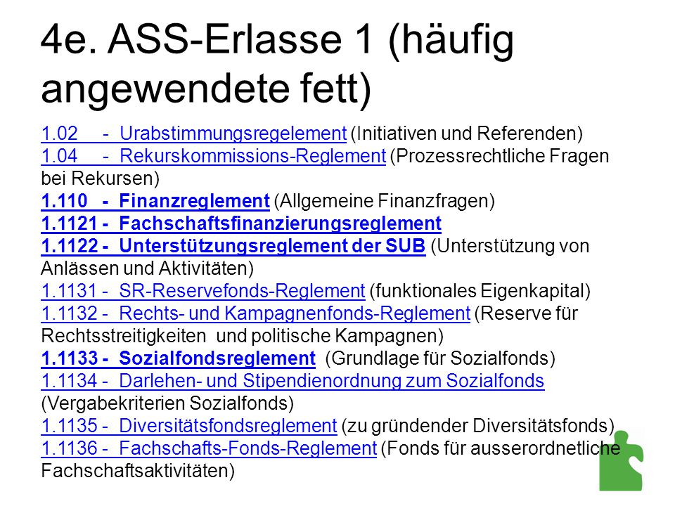 4e. ASS-Erlasse 1 (häufig angewendete fett)
