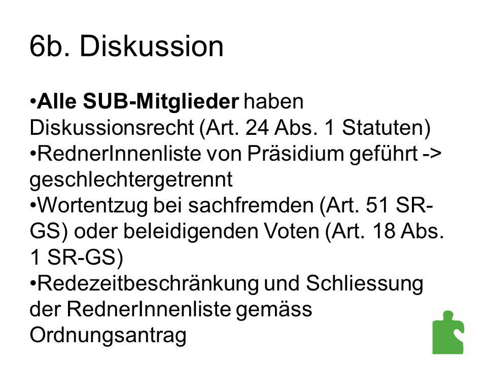 6b. Diskussion Alle SUB-Mitglieder haben Diskussionsrecht (Art. 24 Abs. 1 Statuten) RednerInnenliste von Präsidium geführt -> geschlechtergetrennt.