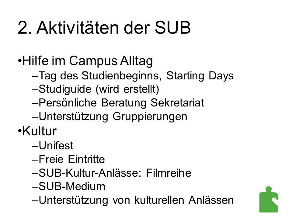2. Aktivitäten der SUB Hilfe im Campus Alltag Kultur