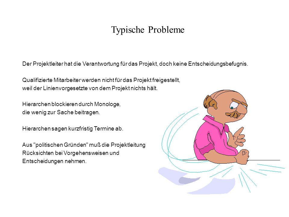 Typische Probleme Der Projektleiter hat die Verantwortung für das Projekt, doch keine Entscheidungsbefugnis.