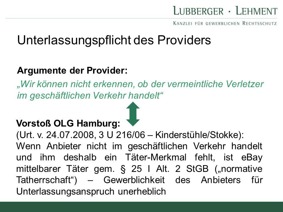 Unterlassungspflicht des Providers