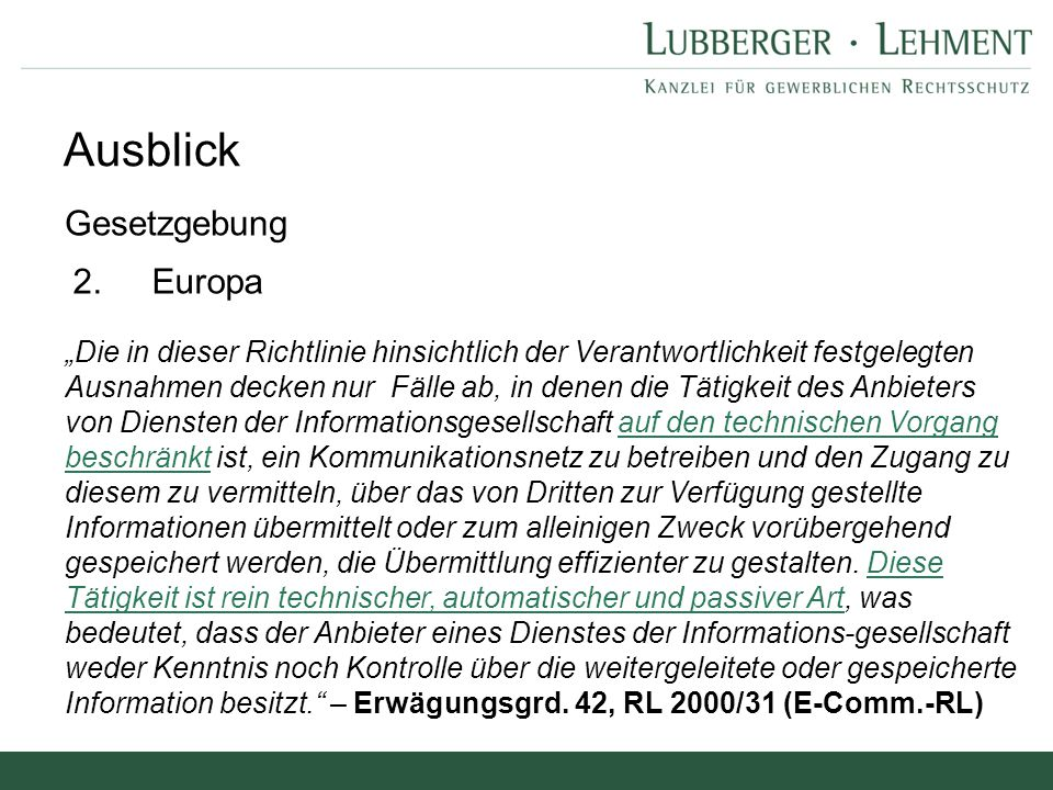 Ausblick Gesetzgebung 2. Europa