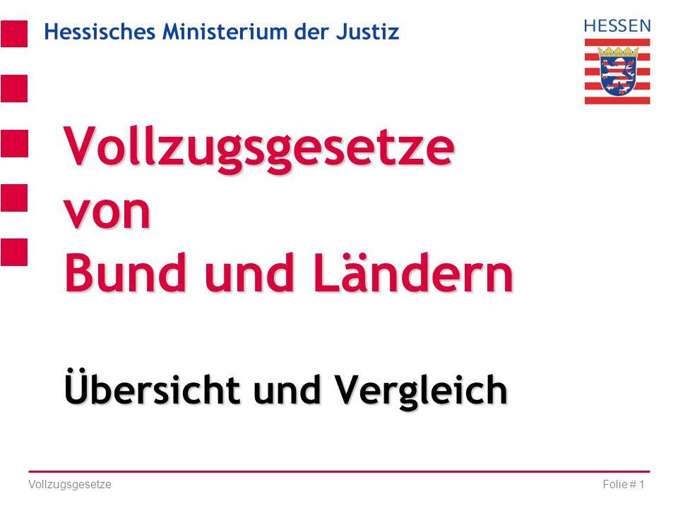 Vollzugsgesetze von Bund und Ländern Übersicht und Vergleich