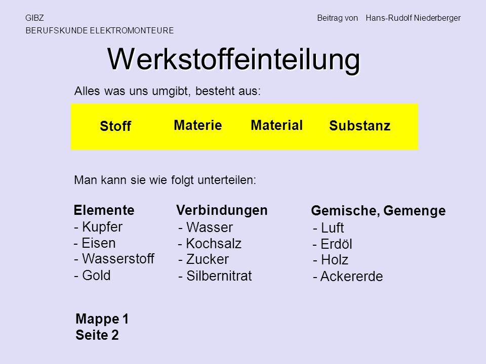 Werkstoffeinteilung Stoff Materie Material Substanz Elemente