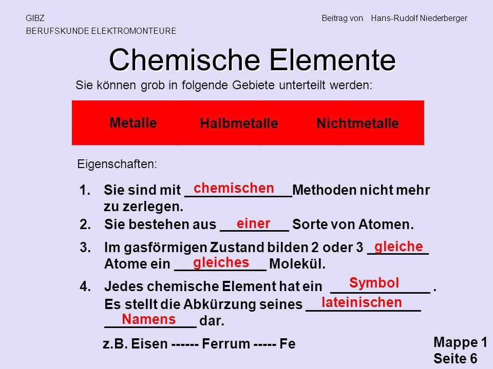 Chemische Elemente Metalle Halbmetalle Nichtmetalle chemischen