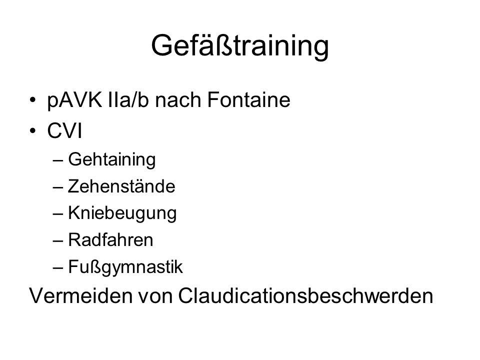 Gefäßtraining pAVK IIa/b nach Fontaine CVI