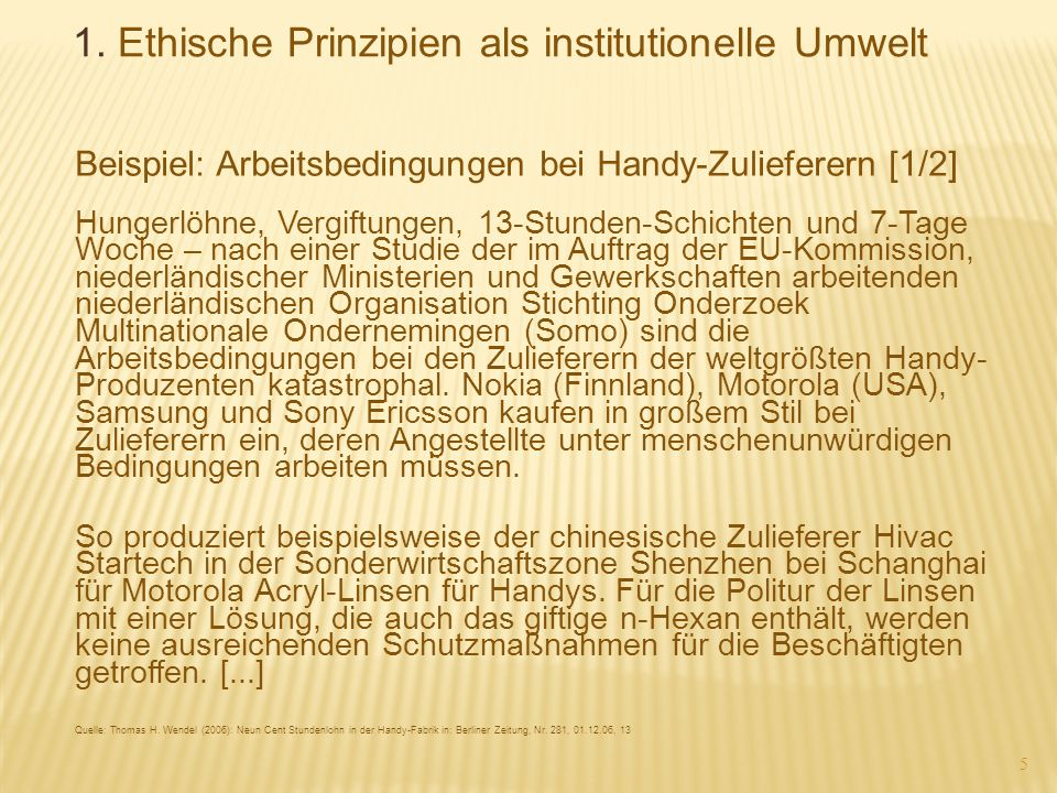 1. Ethische Prinzipien als institutionelle Umwelt
