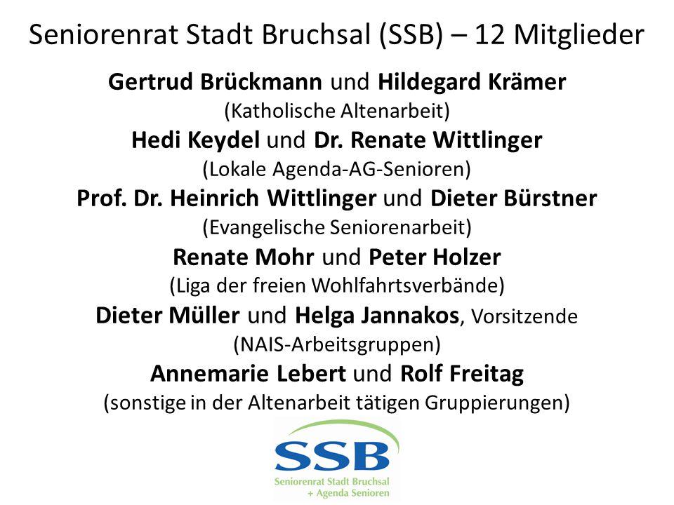 Seniorenrat Stadt Bruchsal (SSB) – 12 Mitglieder