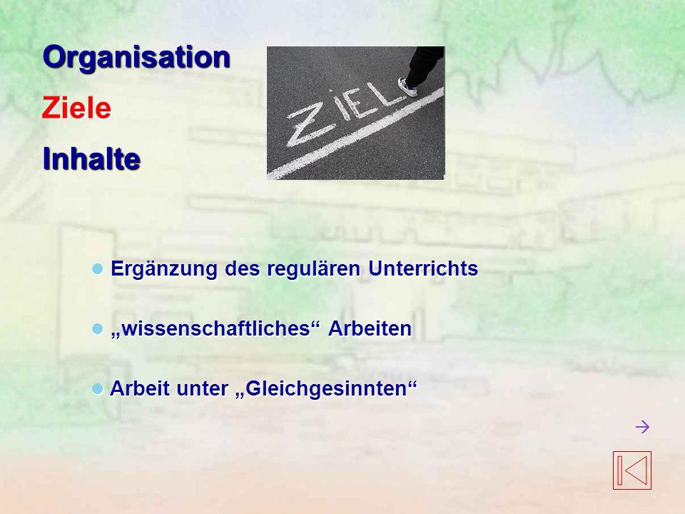 Organisation Ziele Inhalte Ergänzung des regulären Unterrichts