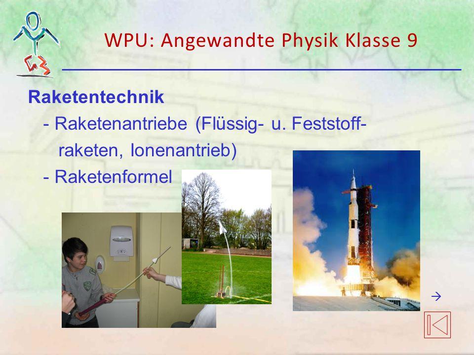 WPU: Angewandte Physik Klasse 9