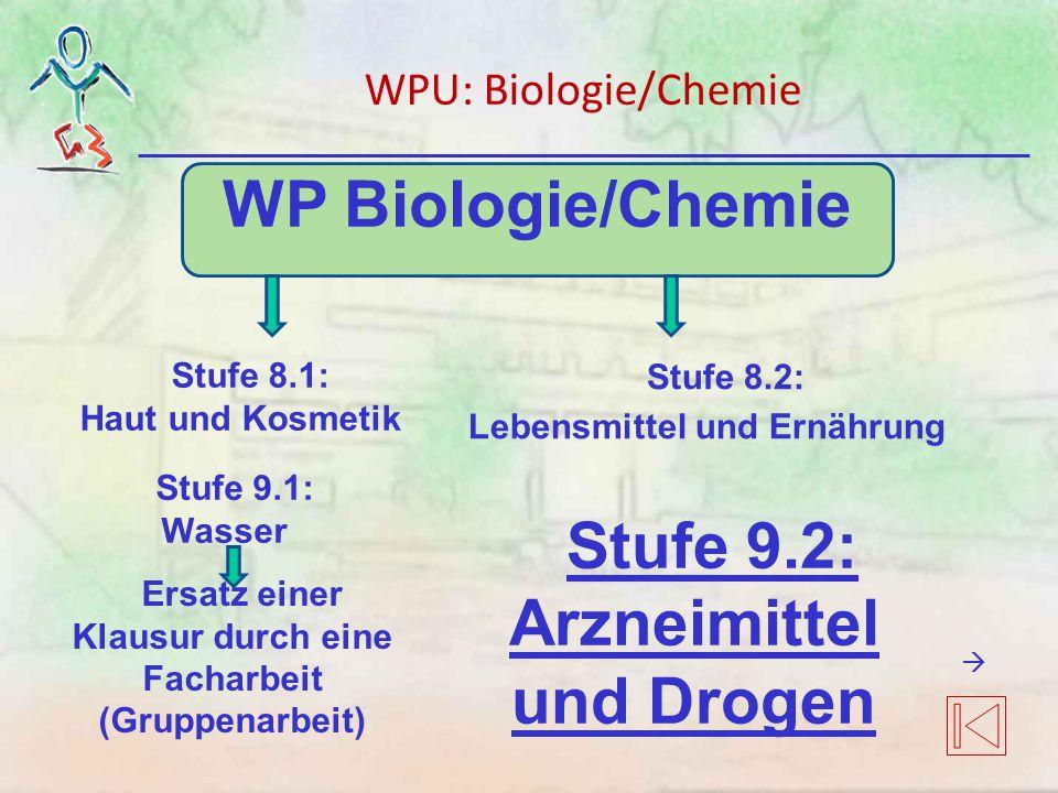 WP Biologie/Chemie Stufe 9.2: Arzneimittel und Drogen Stufe 8.2: