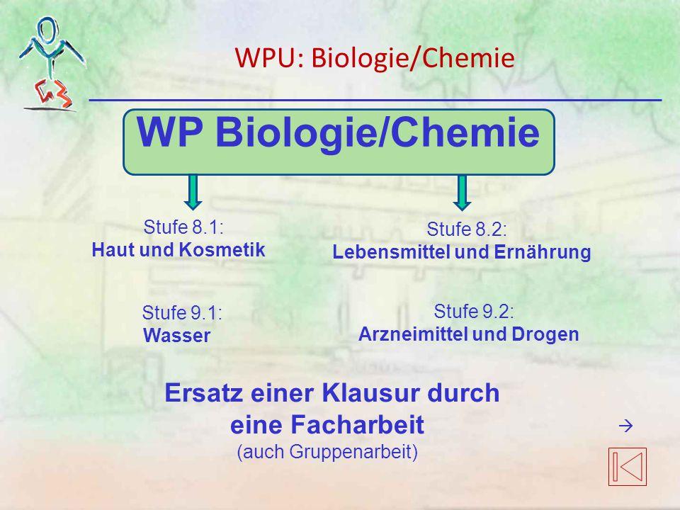 WP Biologie/Chemie WPU: Biologie/Chemie Stufe 8.1: Stufe 8.2: