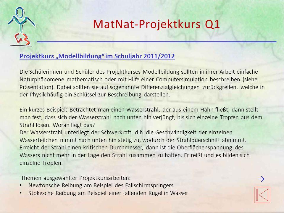 """MatNat-Projektkurs Q1 Projektkurs """"Modellbildung im Schuljahr 2011/2012."""