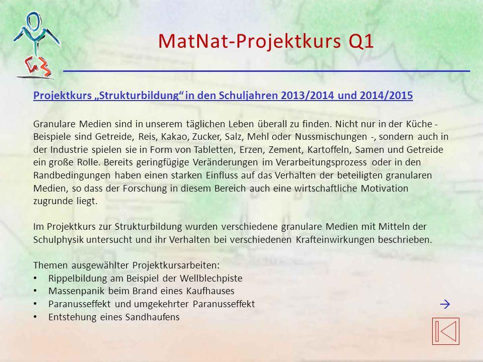 """MatNat-Projektkurs Q1 Projektkurs """"Strukturbildung in den Schuljahren 2013/2014 und 2014/2015."""