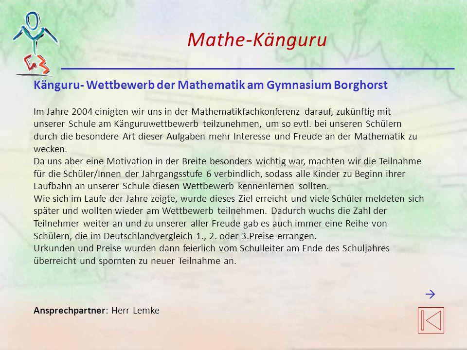 Mathe-Känguru Känguru- Wettbewerb der Mathematik am Gymnasium Borghorst.