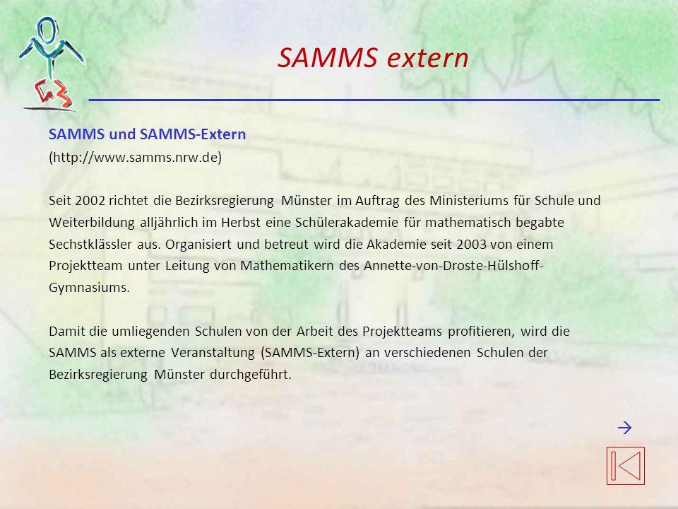 SAMMS extern SAMMS und SAMMS-Extern  (http://www.samms.nrw.de)