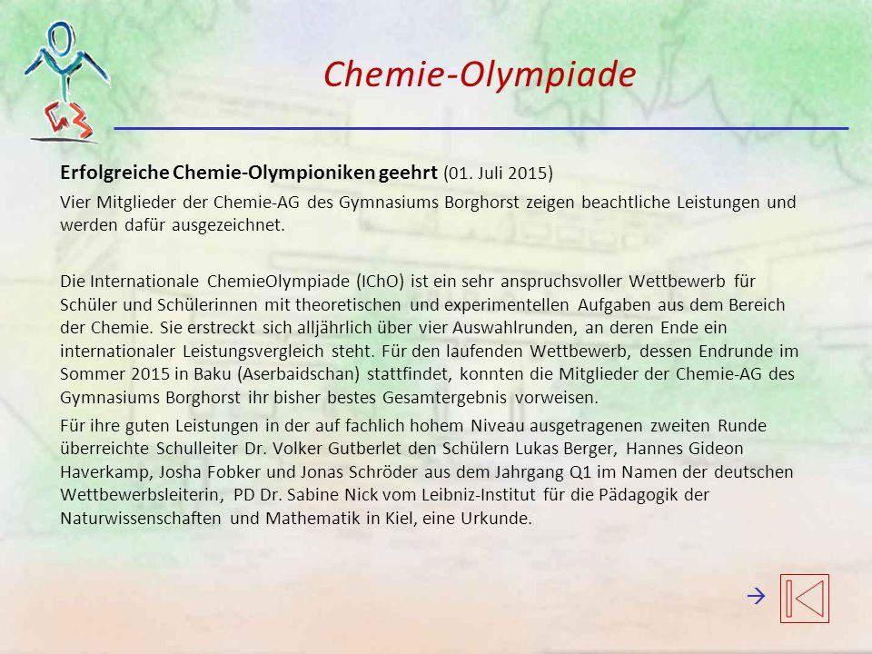 Chemie-Olympiade Erfolgreiche Chemie-Olympioniken geehrt (01. Juli 2015)