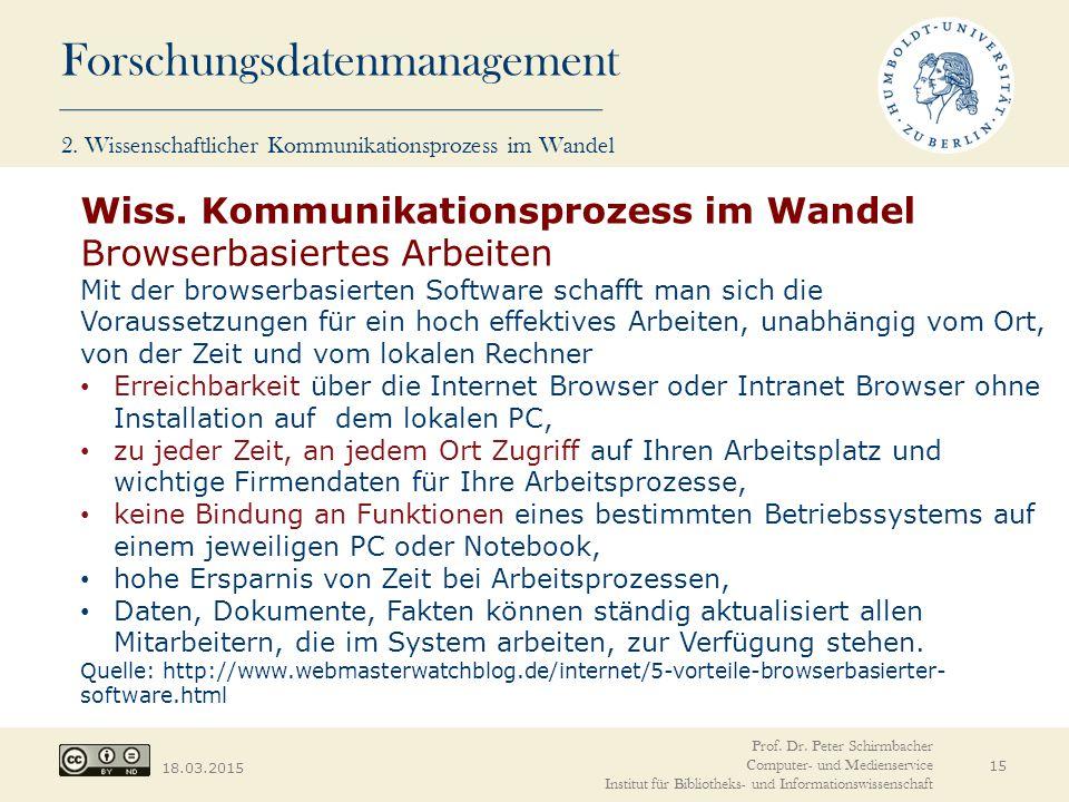 Wiss. Kommunikationsprozess im Wandel Browserbasiertes Arbeiten