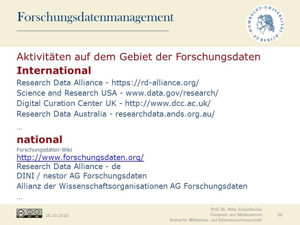 Aktivitäten auf dem Gebiet der Forschungsdaten International