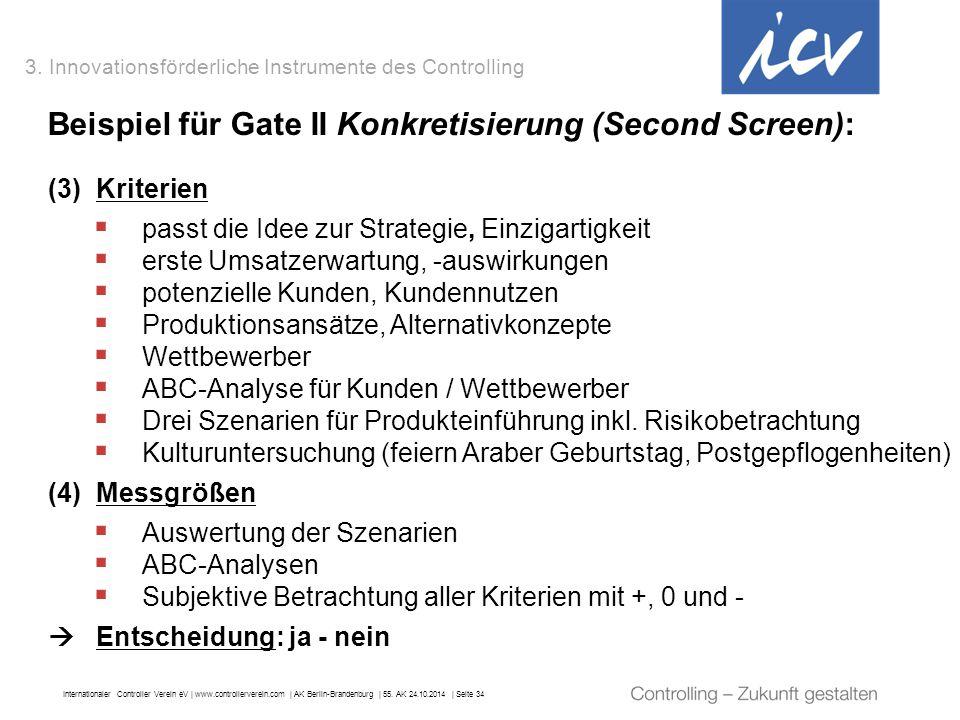 Beispiel für Gate II Konkretisierung (Second Screen):