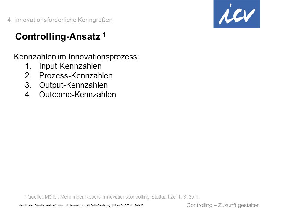 Controlling-Ansatz 1 Kennzahlen im Innovationsprozess: