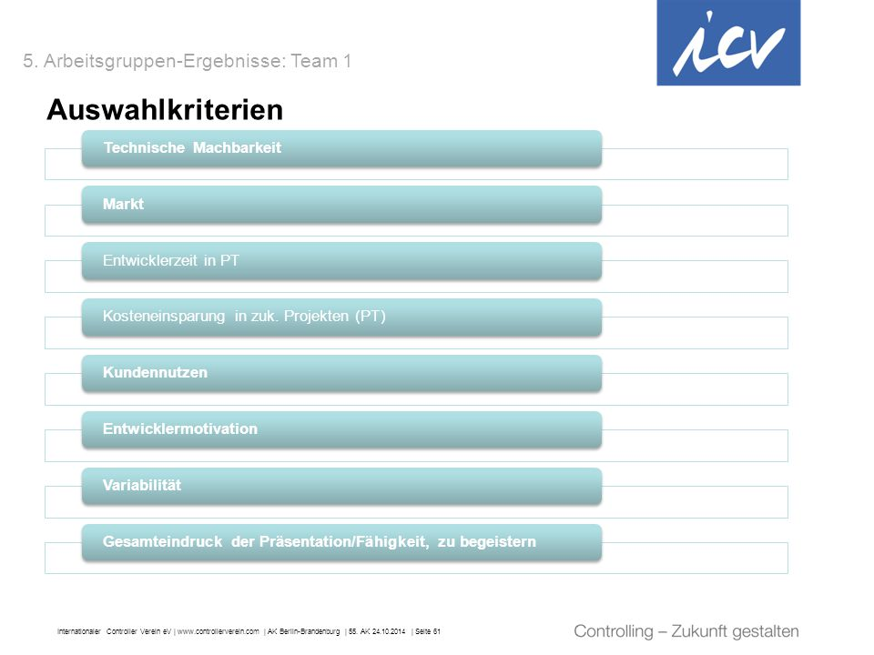 Auswahlkriterien 5. Arbeitsgruppen-Ergebnisse: Team 1
