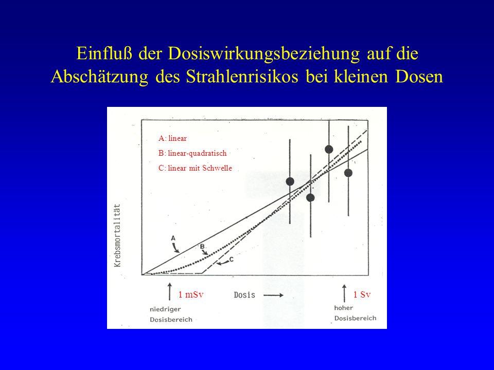 Einfluß der Dosiswirkungsbeziehung auf die Abschätzung des Strahlenrisikos bei kleinen Dosen