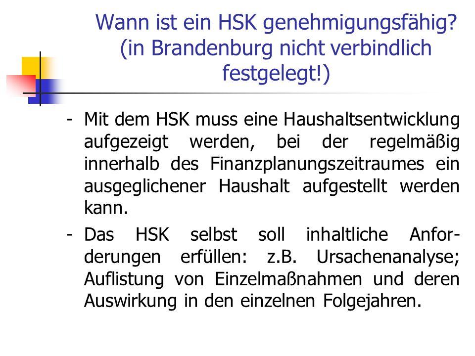 Wann ist ein HSK genehmigungsfähig