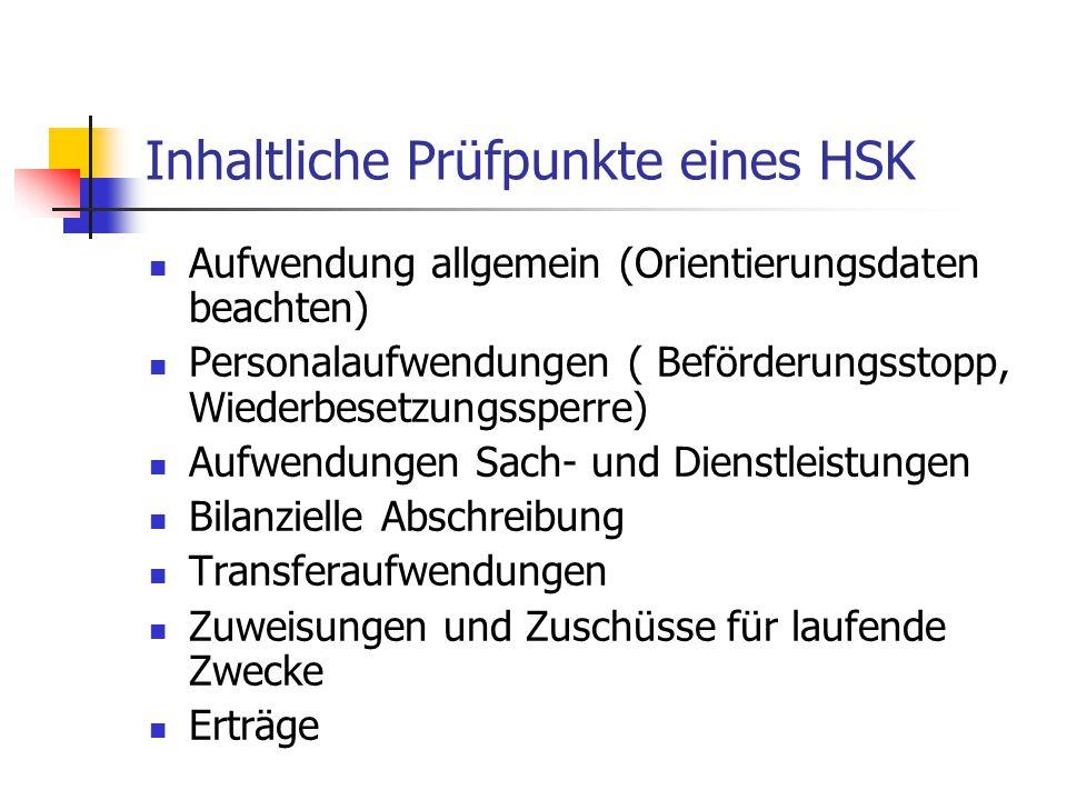 Inhaltliche Prüfpunkte eines HSK
