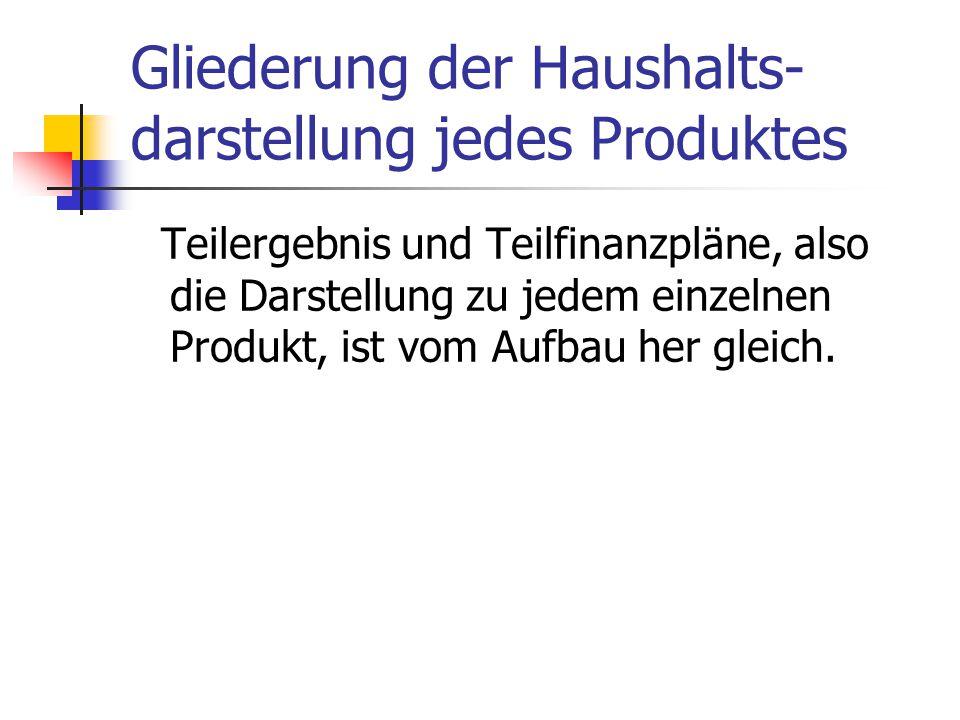 Gliederung der Haushalts-darstellung jedes Produktes