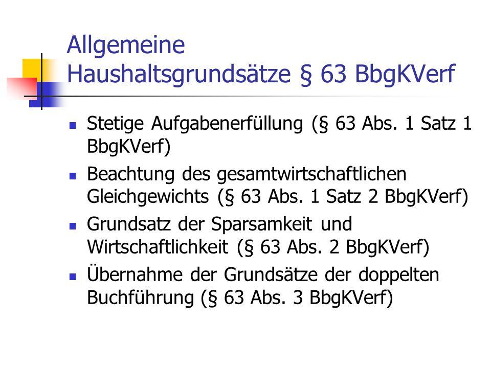 Allgemeine Haushaltsgrundsätze § 63 BbgKVerf