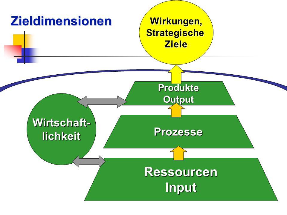Zieldimensionen Ressourcen Input Wirtschaft- lichkeit Prozesse