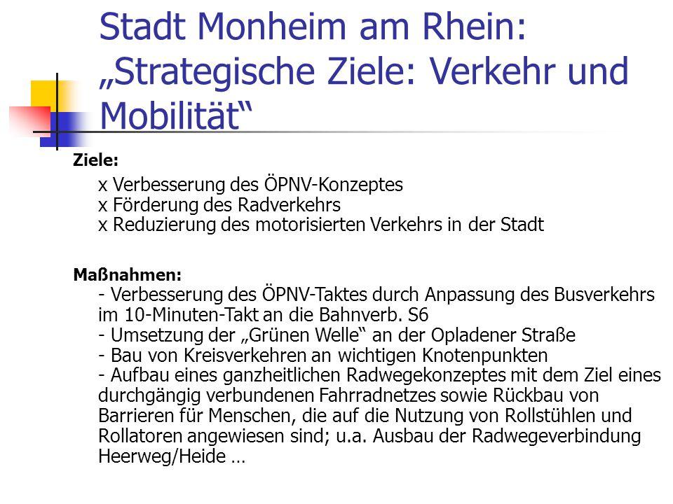 """Stadt Monheim am Rhein: """"Strategische Ziele: Verkehr und Mobilität"""